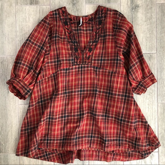 Free People Tops - FreePeople Sammy Jo Embroidered Plaid Swing Tunic